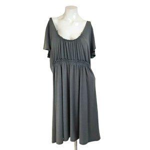 Espresso Gray Ruffle Accent A-Line Casual Dress